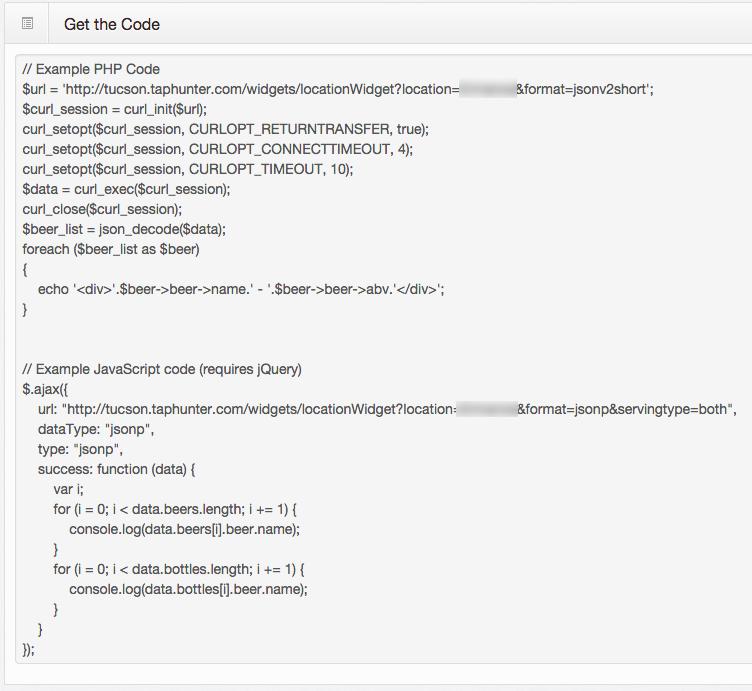 Website Menu JSON feed - TapHunter Online Support