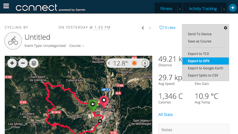 Export a GPX file from Garmin Connect