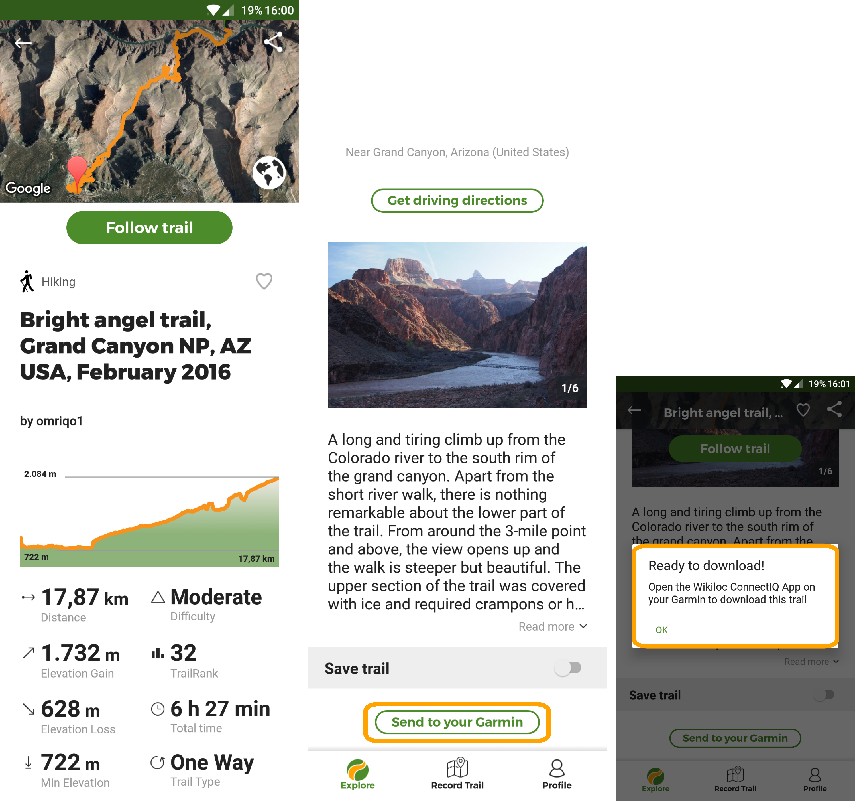 Send trails from Wikiloc App to your Garmin GPS (Garmin Connect IQ