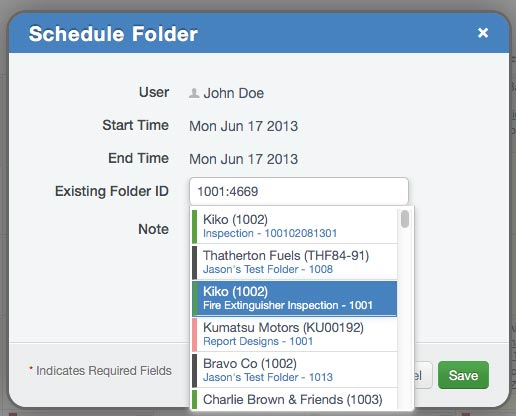 Schedule Existing Folder
