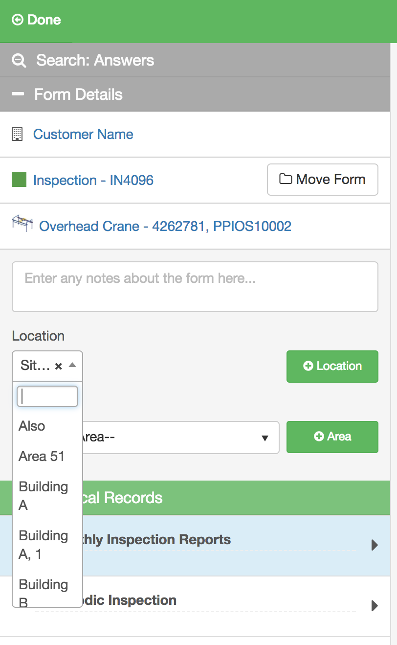 Changing asset locations on forms - InspectAll Support