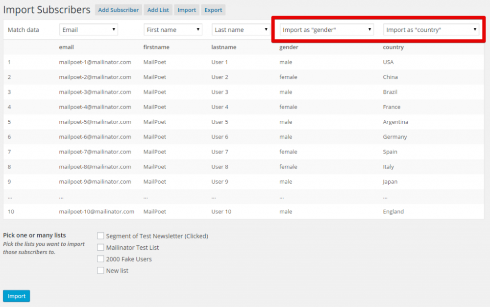 Importing subscribers with a CSV file - MailPoet 2 Knowledge Base