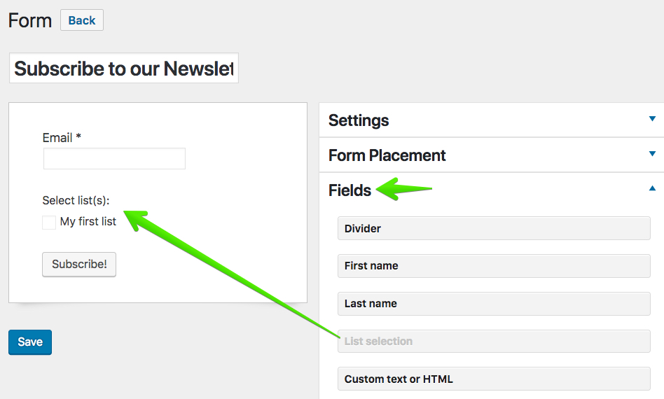 Create a Subscription Form - Docs for MailPoet version 3