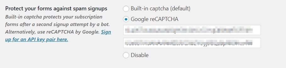 Add a Captcha to the MailPoet Subscription Forms - Docs for