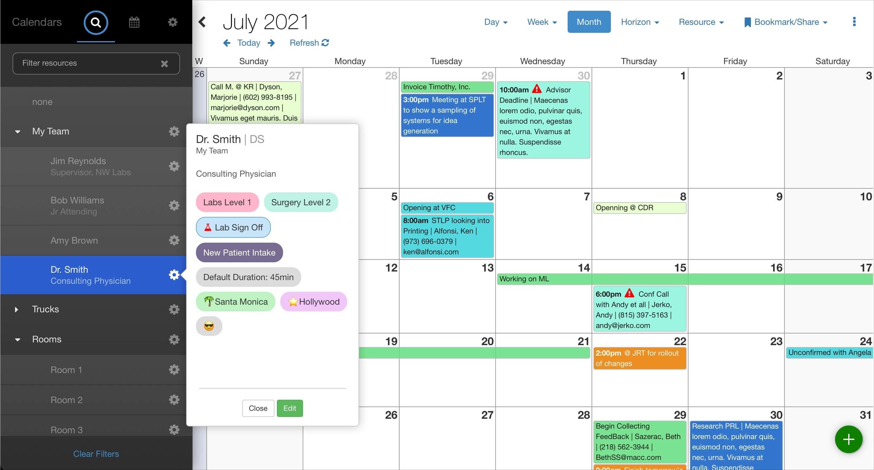 Asset scheduling: resource attributes in Salesforce. Screenshot