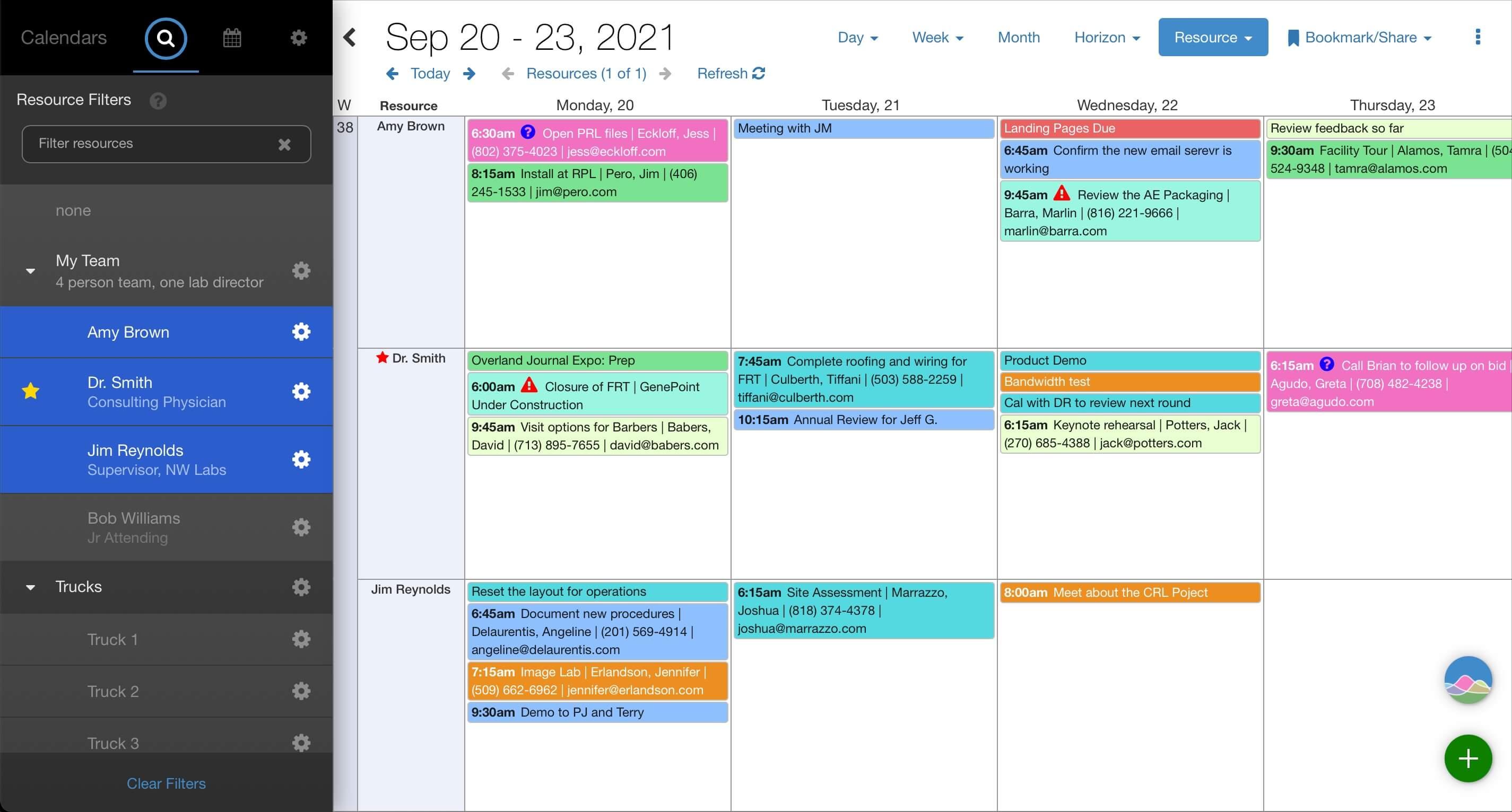 Resource scheduling in Salesforce. Screenshot