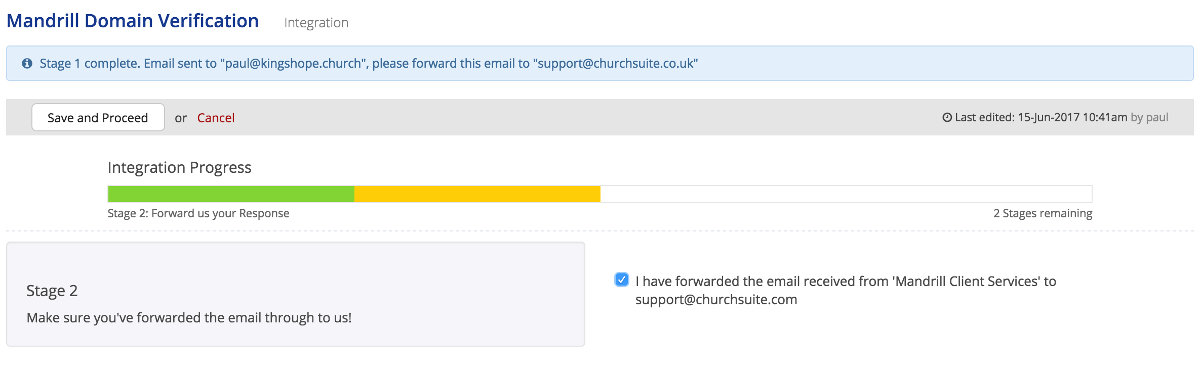 Improving email delivery from your churchsuite account send you a confirmation email back advising that you can proceed to the final stage now you can tick the box in stage 2 and click save and proceed buycottarizona Images