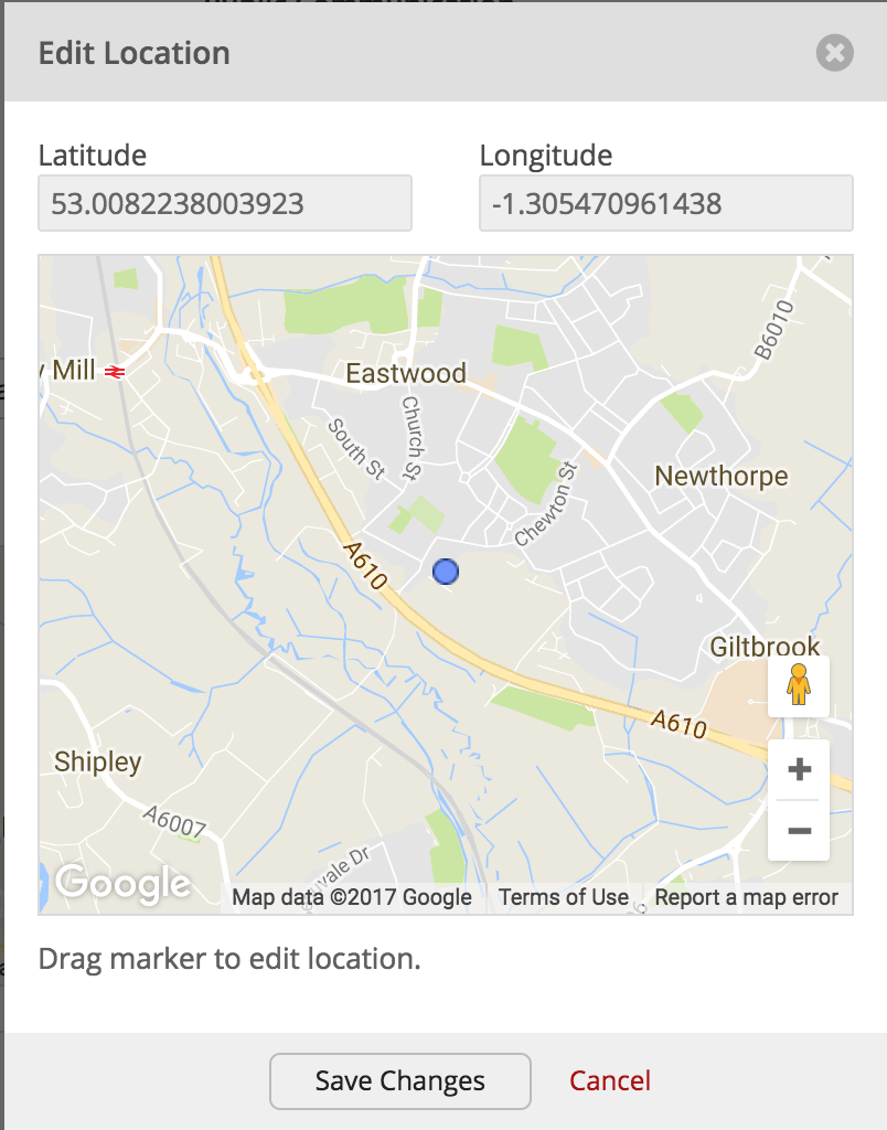 Google map pin locations in churchsuite churchsuite support articles in edit view you can now drag the pin to the correct location once you are satisfied click save changes and the new latitude and longitude references gumiabroncs Gallery