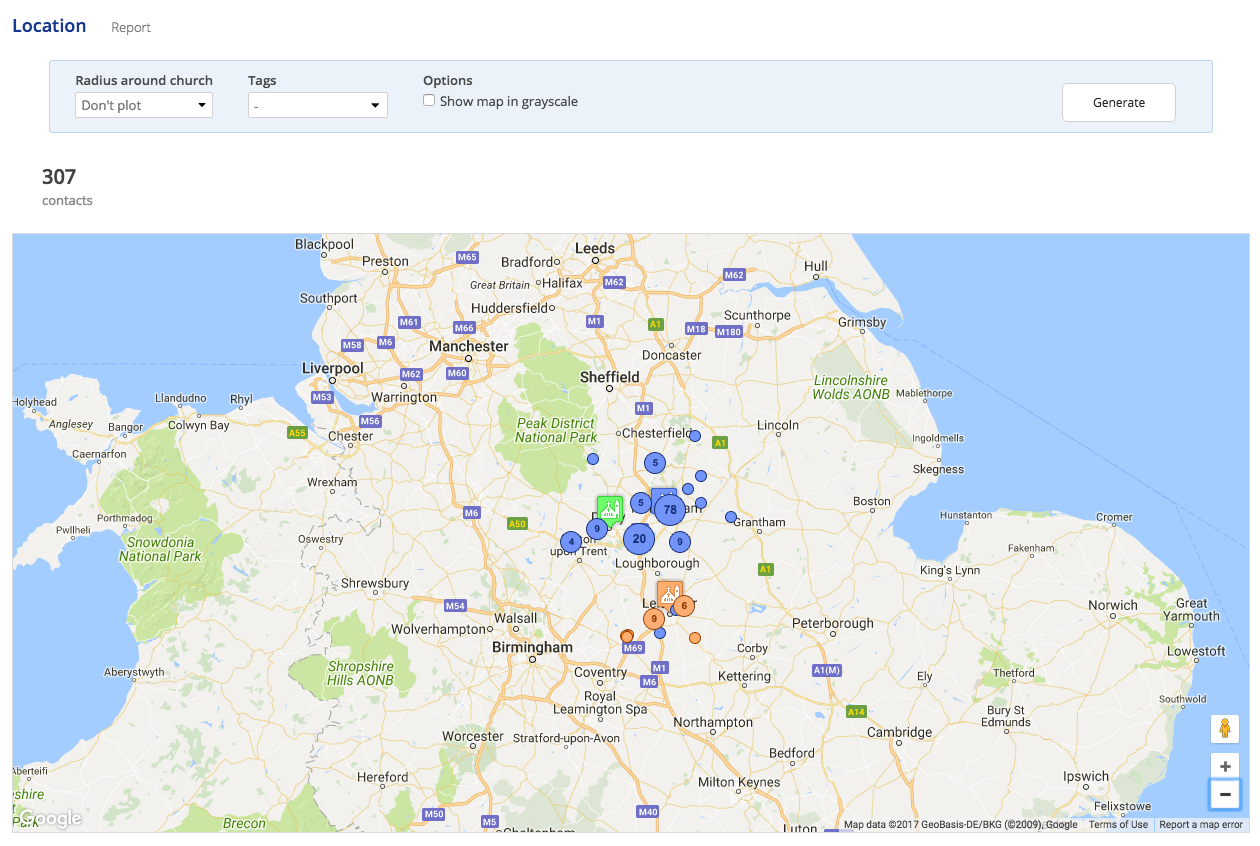 View your address book contacts locations on a map churchsuite depending on the map zoom multiple contacts in close proximity are displayed in clusters clicking a cluster will zoom to show the contacts within that gumiabroncs Image collections
