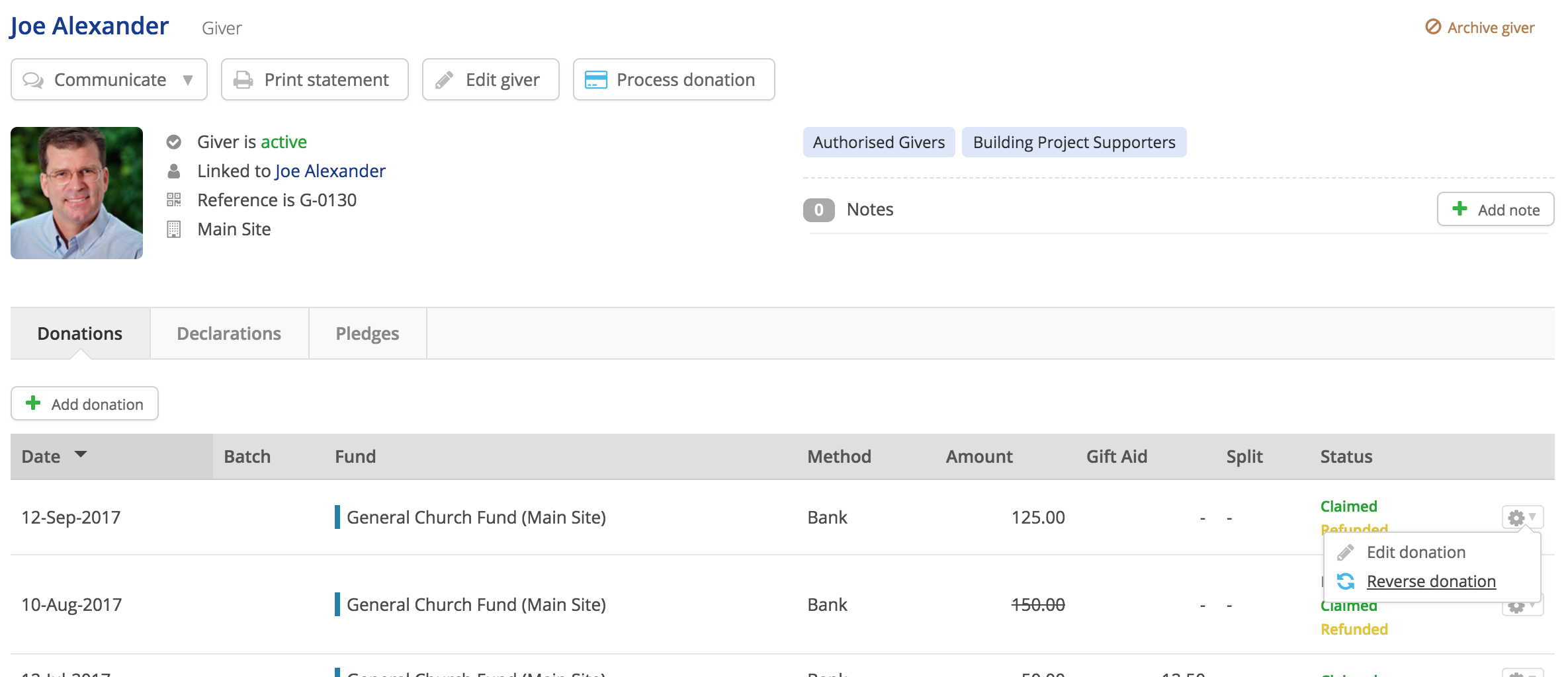 Handling gift aid overclaims and refunds uk only churchsuite note also how for a claimed donation where the gift aid only has been refunded you can still subsequently selected to reverse the donation if you need to negle Images