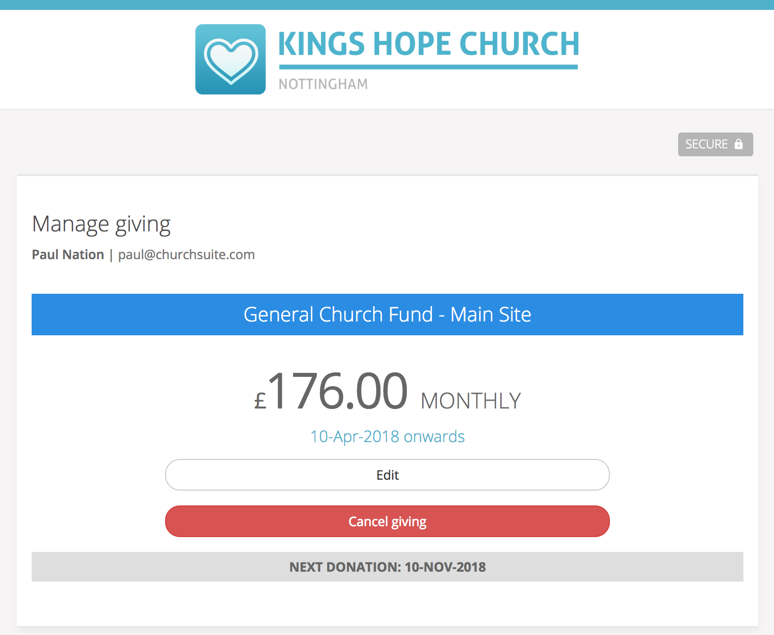 Accepting online donations using Donate - ChurchSuite