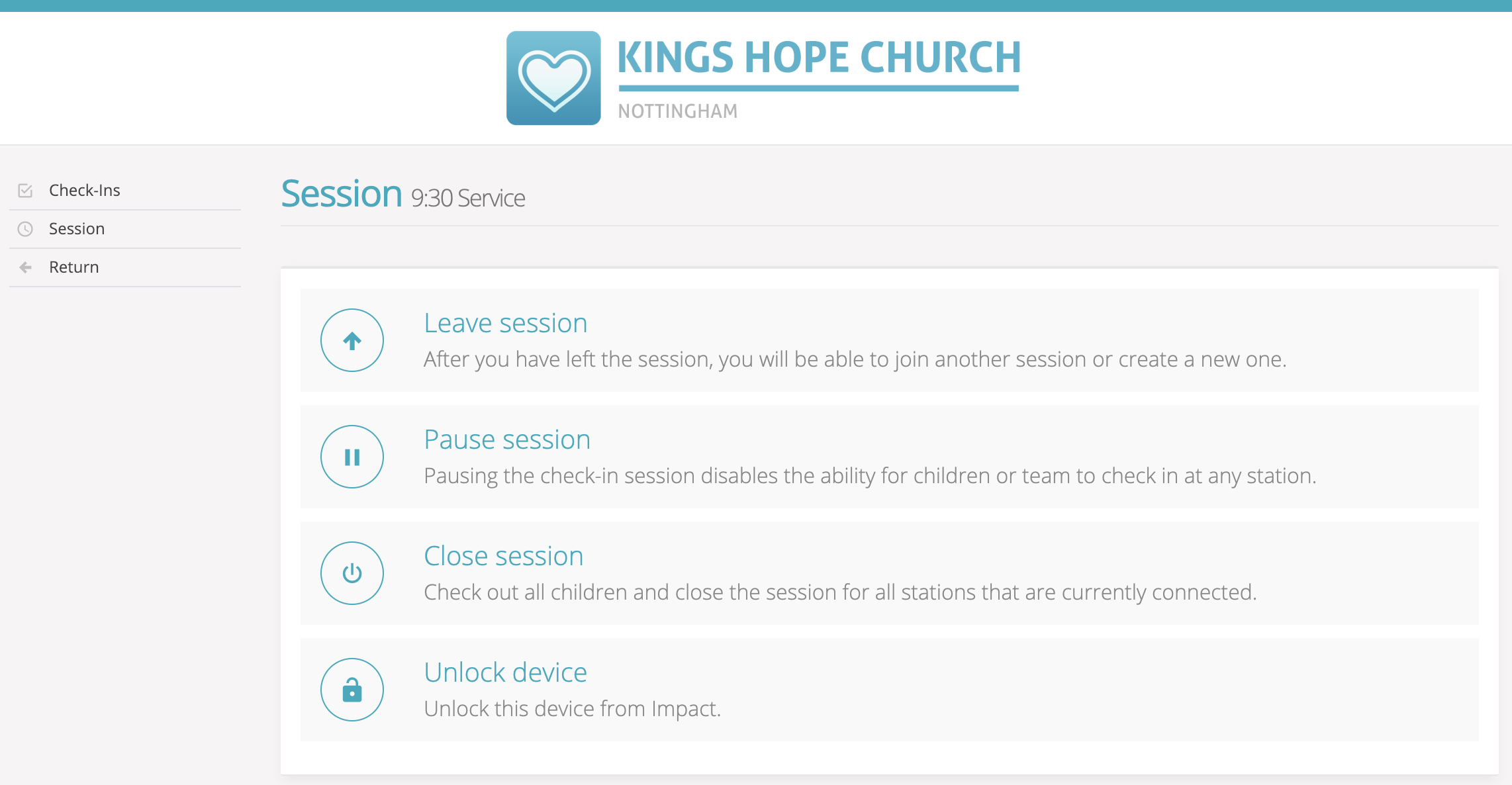 Child check-in - using the leader's Admin Area - ChurchSuite Support