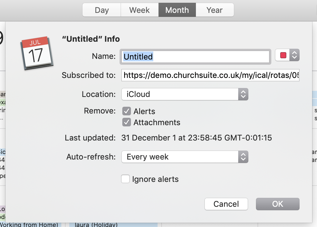 Subscribe to a My Rotas iCal feed - ChurchSuite Support Articles