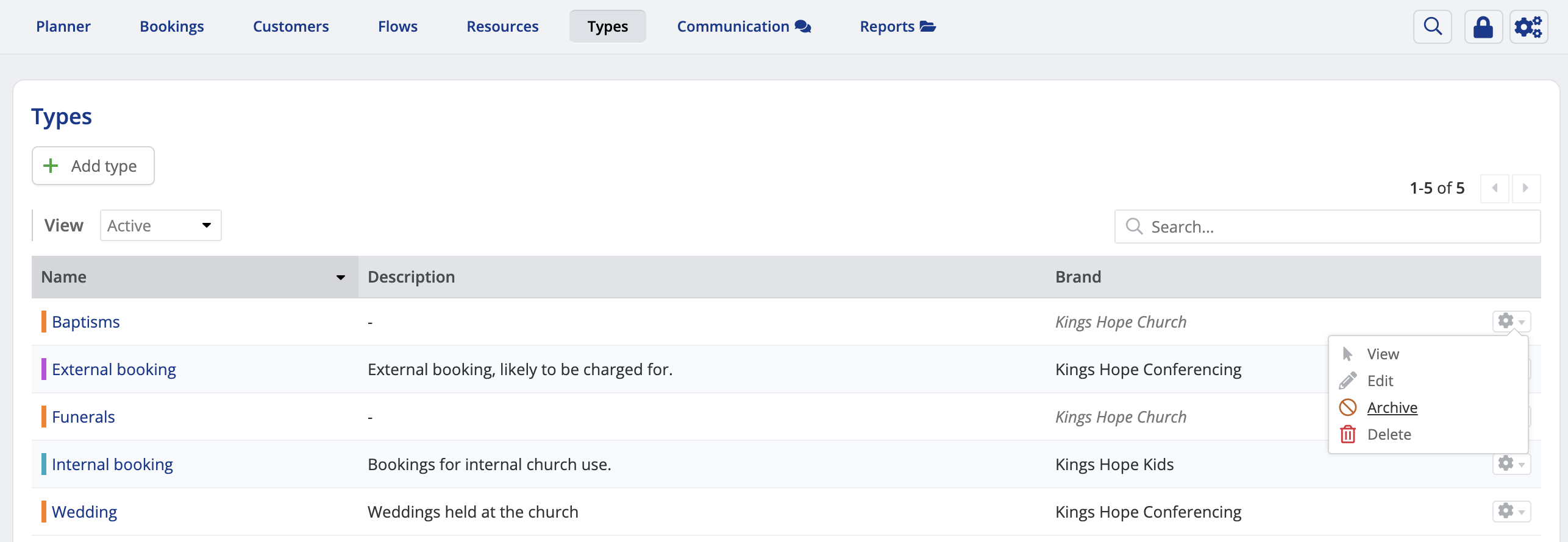 Deleting booking types - ChurchSuite Support Articles