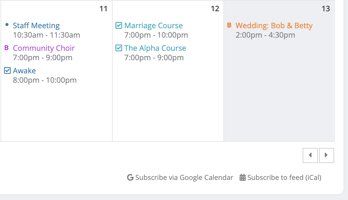Subscribing to an iCal feed of events, bookings and leave