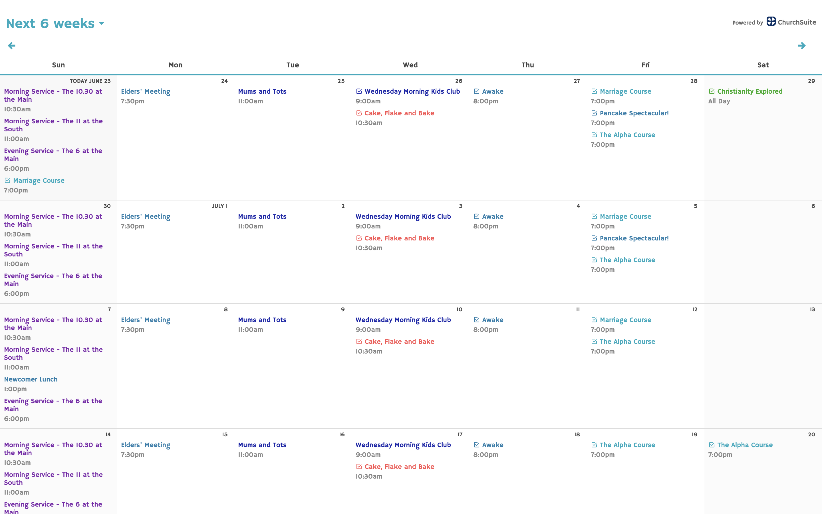 Embed your ChurchSuite calendar in your website