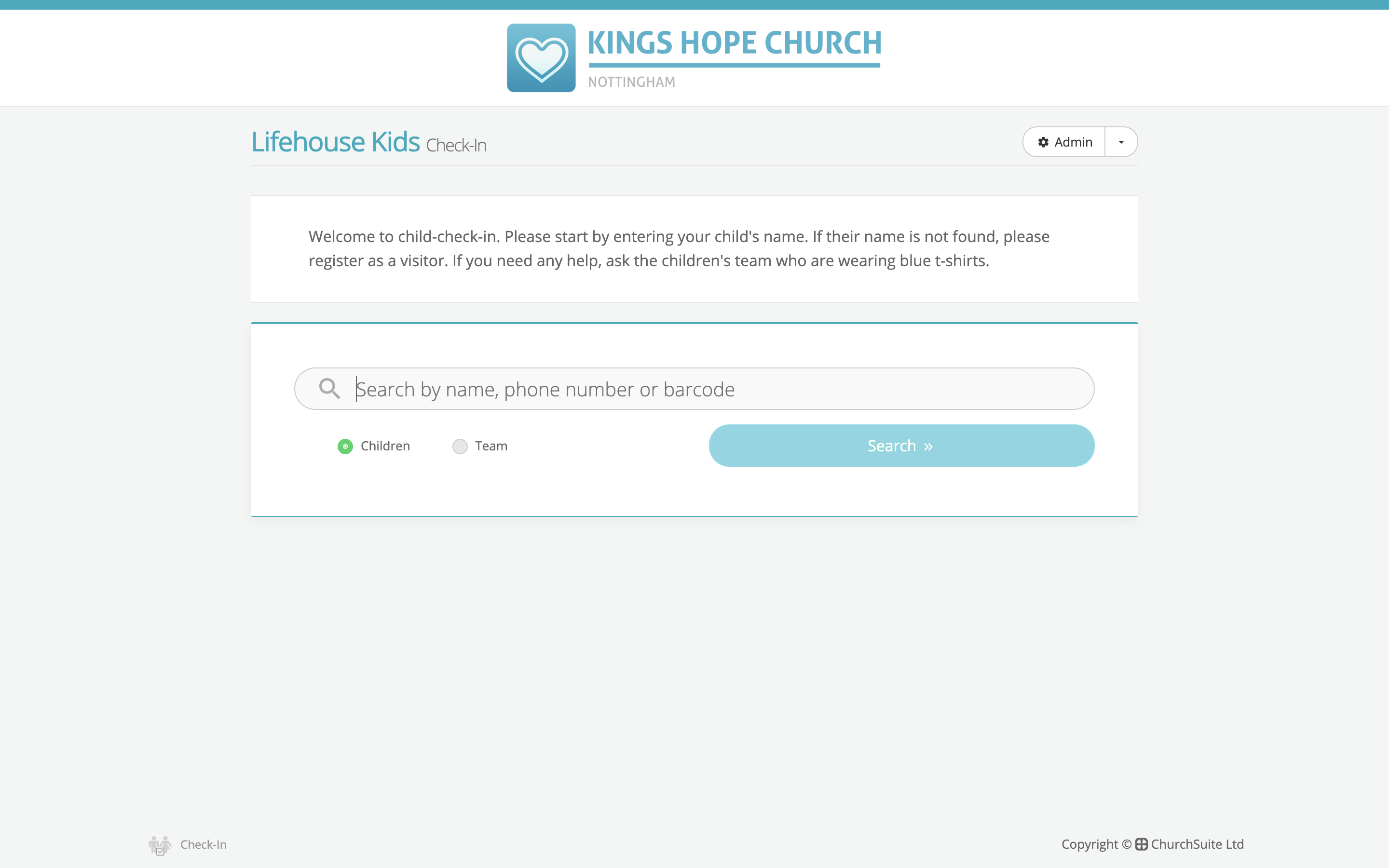 Child check-in - operation - ChurchSuite Support Articles