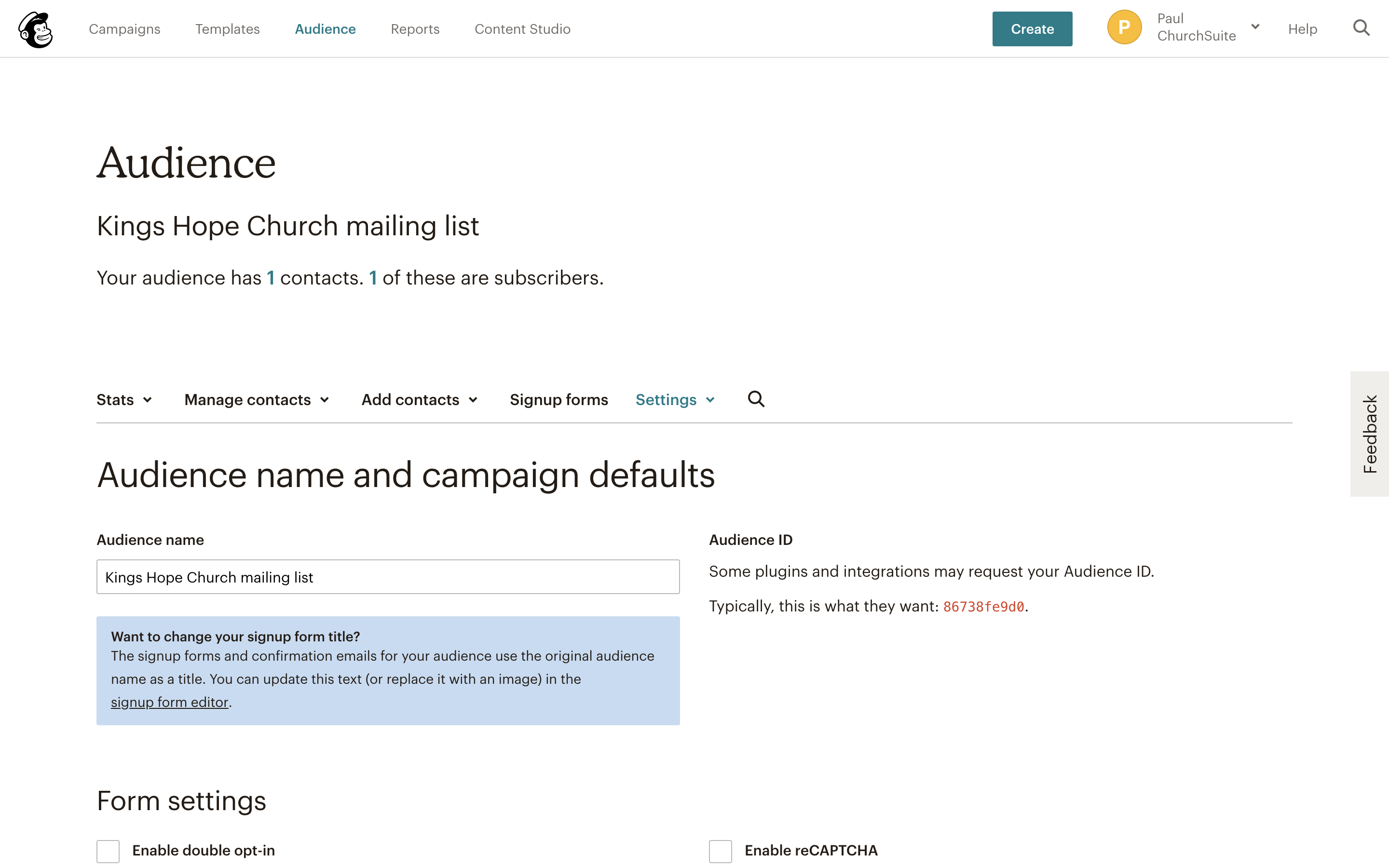 Integrating with Mailchimp (Email) - ChurchSuite Support