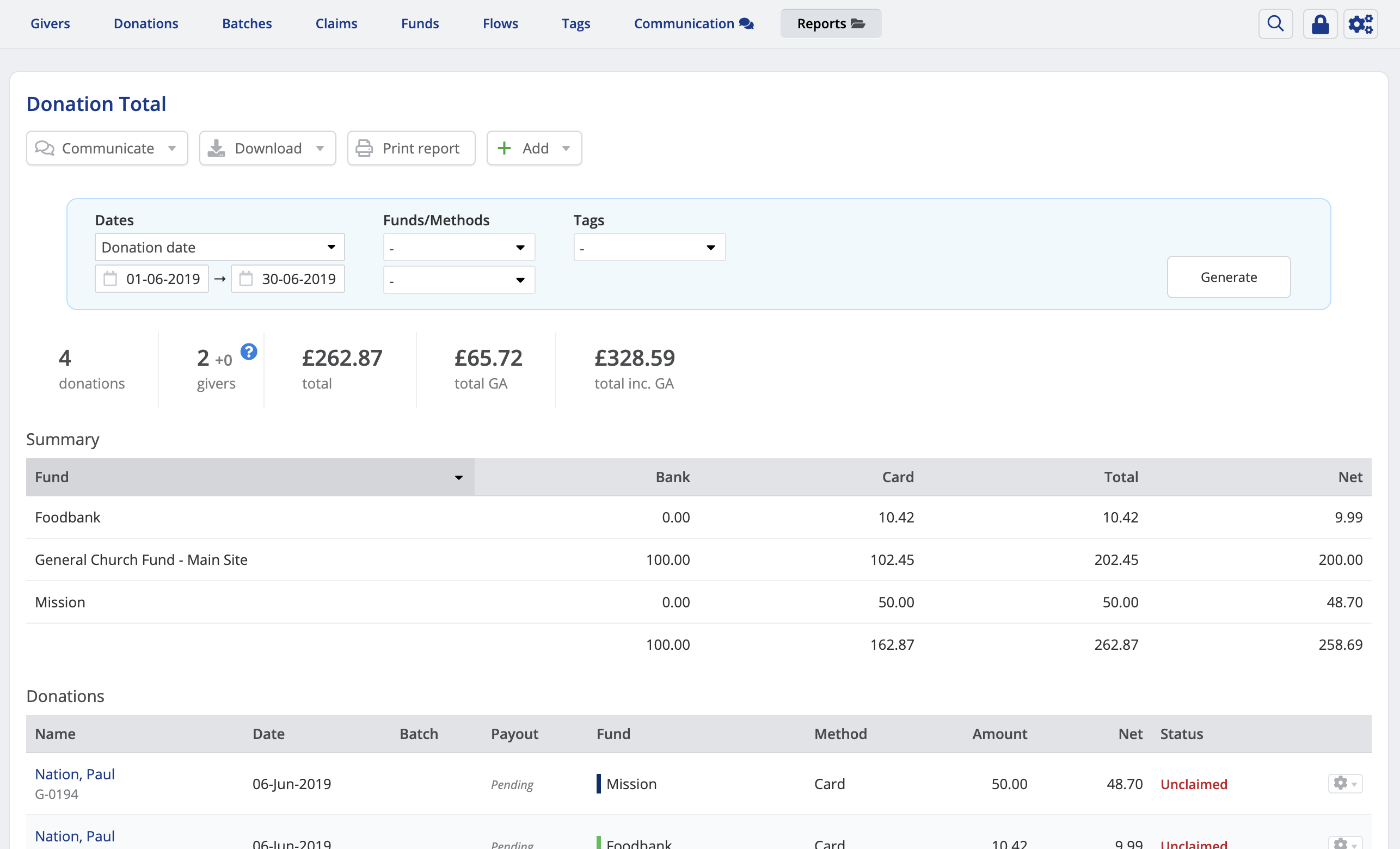 Setting up and managing funds in the Giving module - ChurchSuite With Donation Report Template