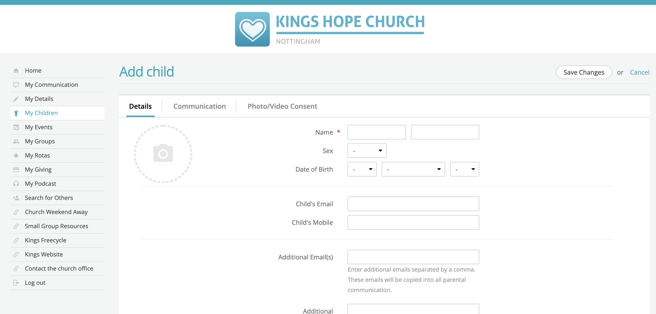 Adding new children through My ChurchSuite - ChurchSuite