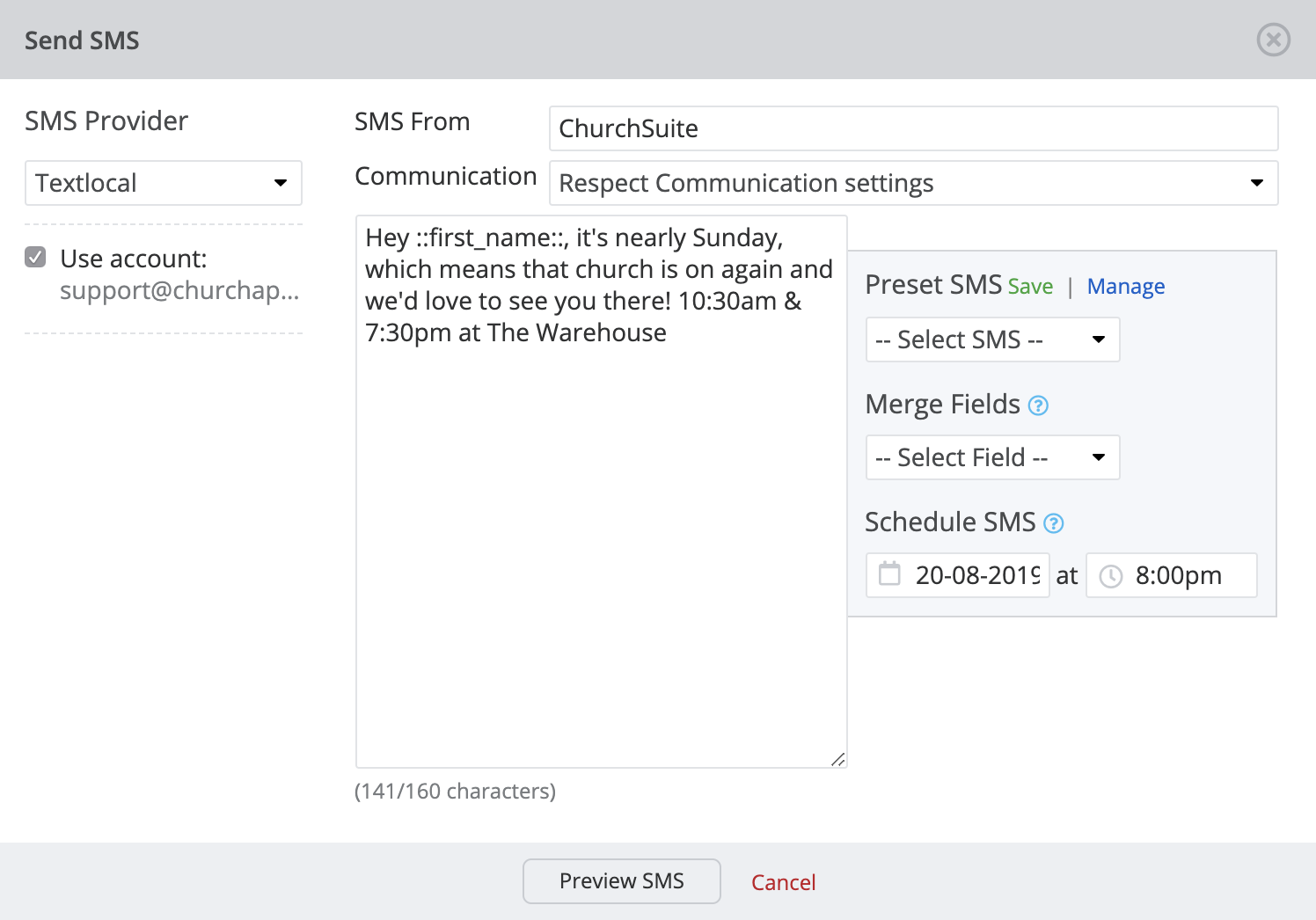 Scheduling SMS messages (and cancelling them) - ChurchSuite