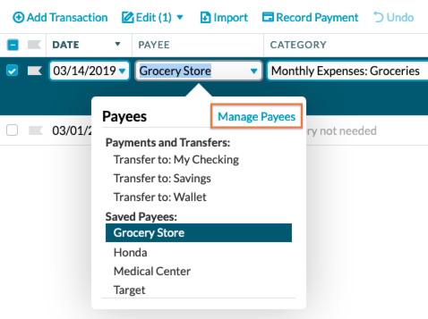 Combine, Rename, and Delete Payees - YNAB Help