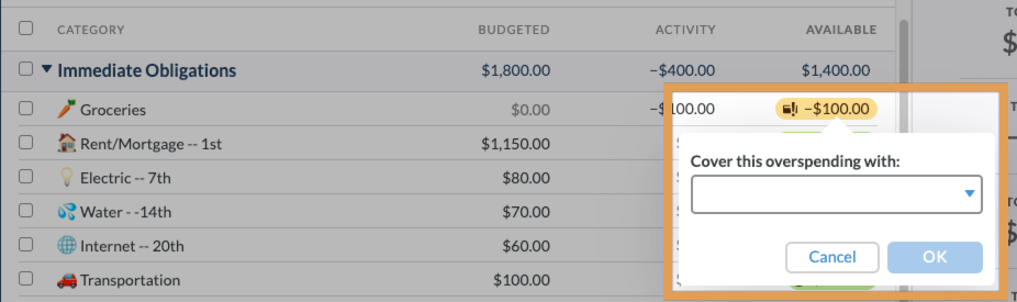Clicking on an overspent amount brings up a window with a menu to choose another category to use to cover the overspending.