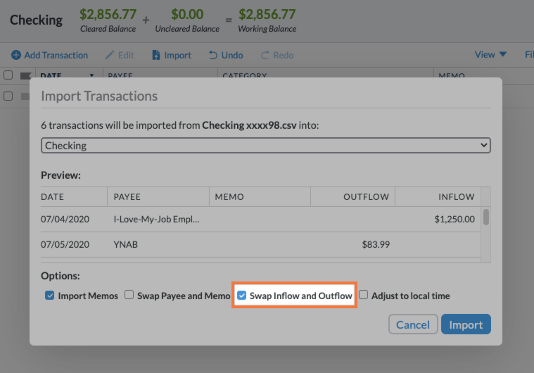 the bottom of the import window has options to import memos, swap payee/memo, swap inflow/outflow, and adjust to local time
