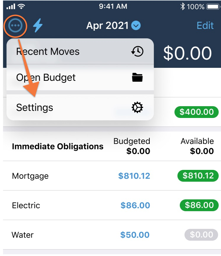 Navigate to the YNAB app Settings in the top left corner for iOS (top right for Android) and tap on Budget Settings