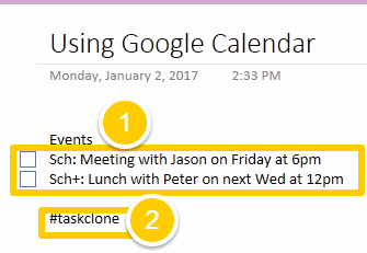 Create events from OneNote tasks - Support | TaskClone