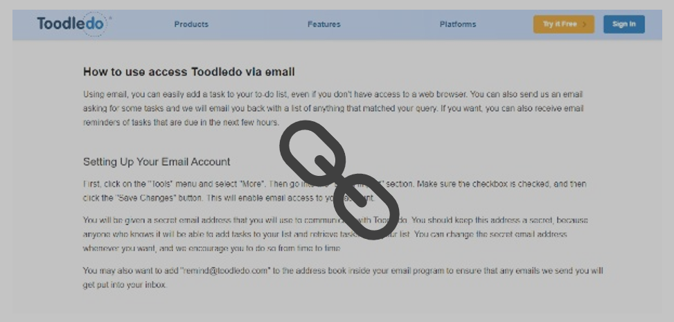 Toodledo Email Support