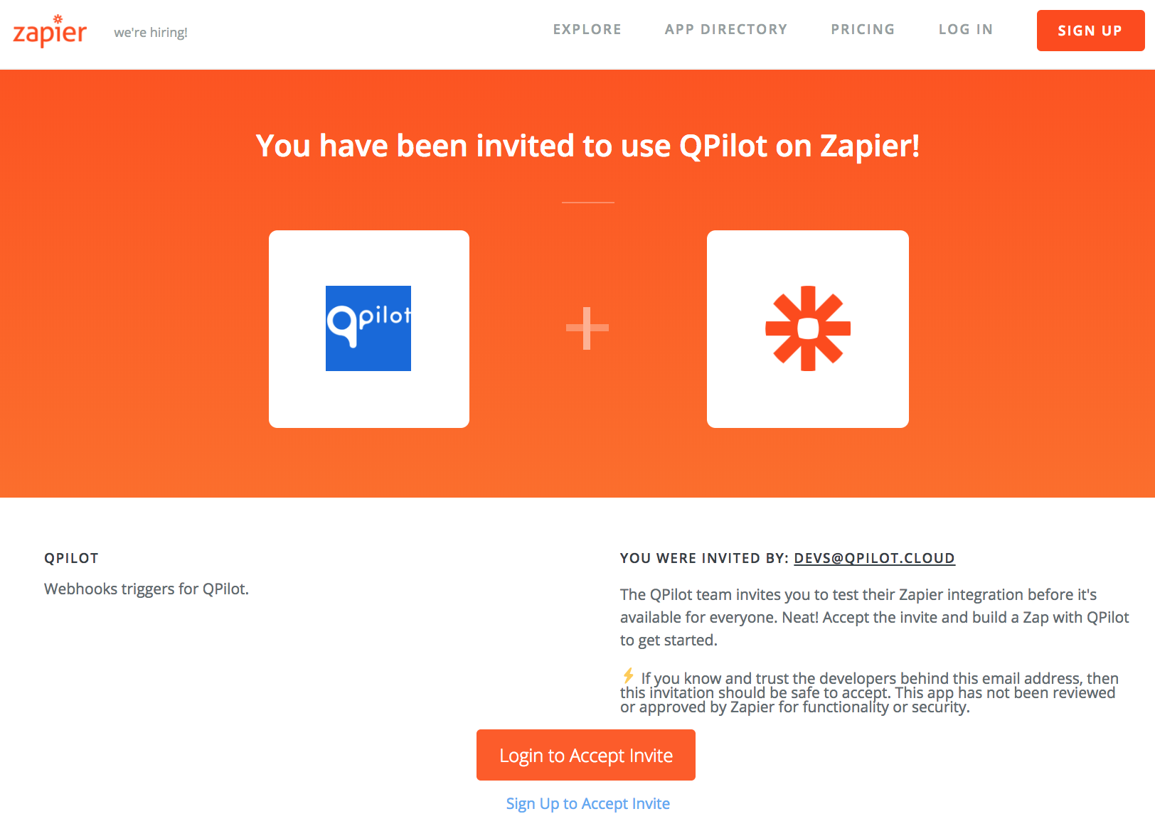 Connect QPilot to Zapier