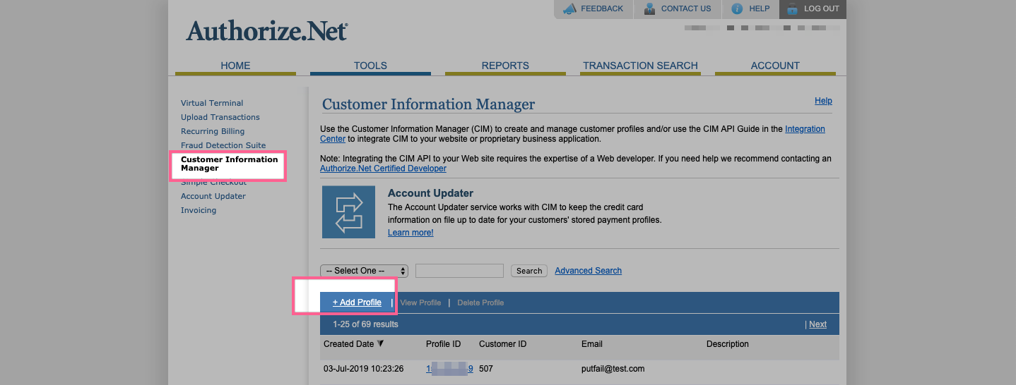 Authorize.net Customer Information Manager (CIM)
