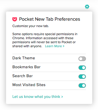 Using the Pocket New Tab Extension in Chrome - Pocket Support