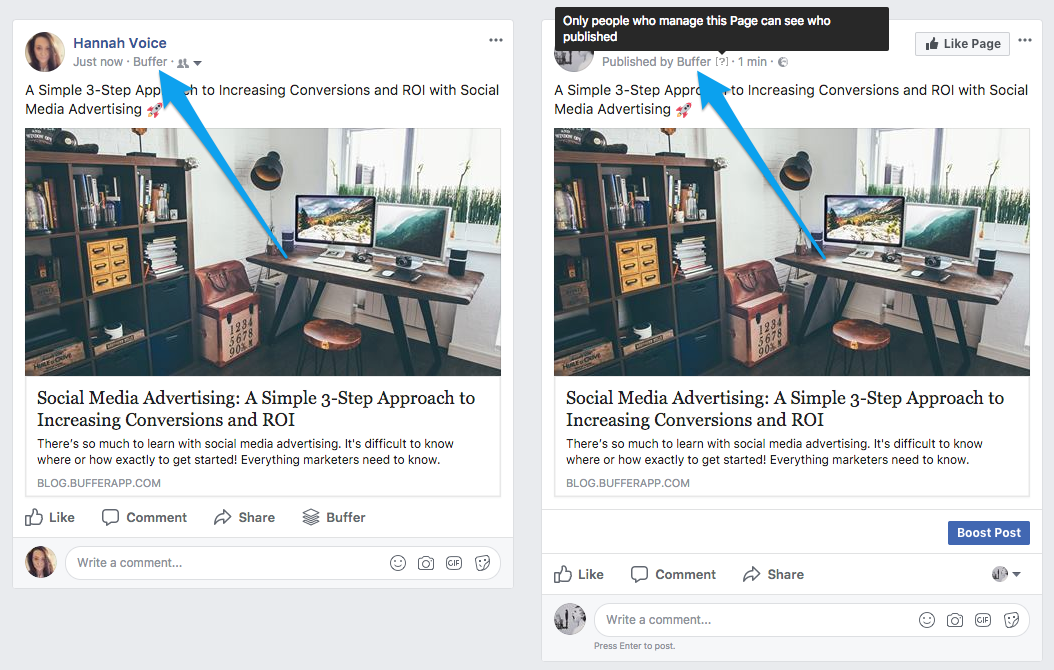 publish can we remove the posted by buffer stamp from our