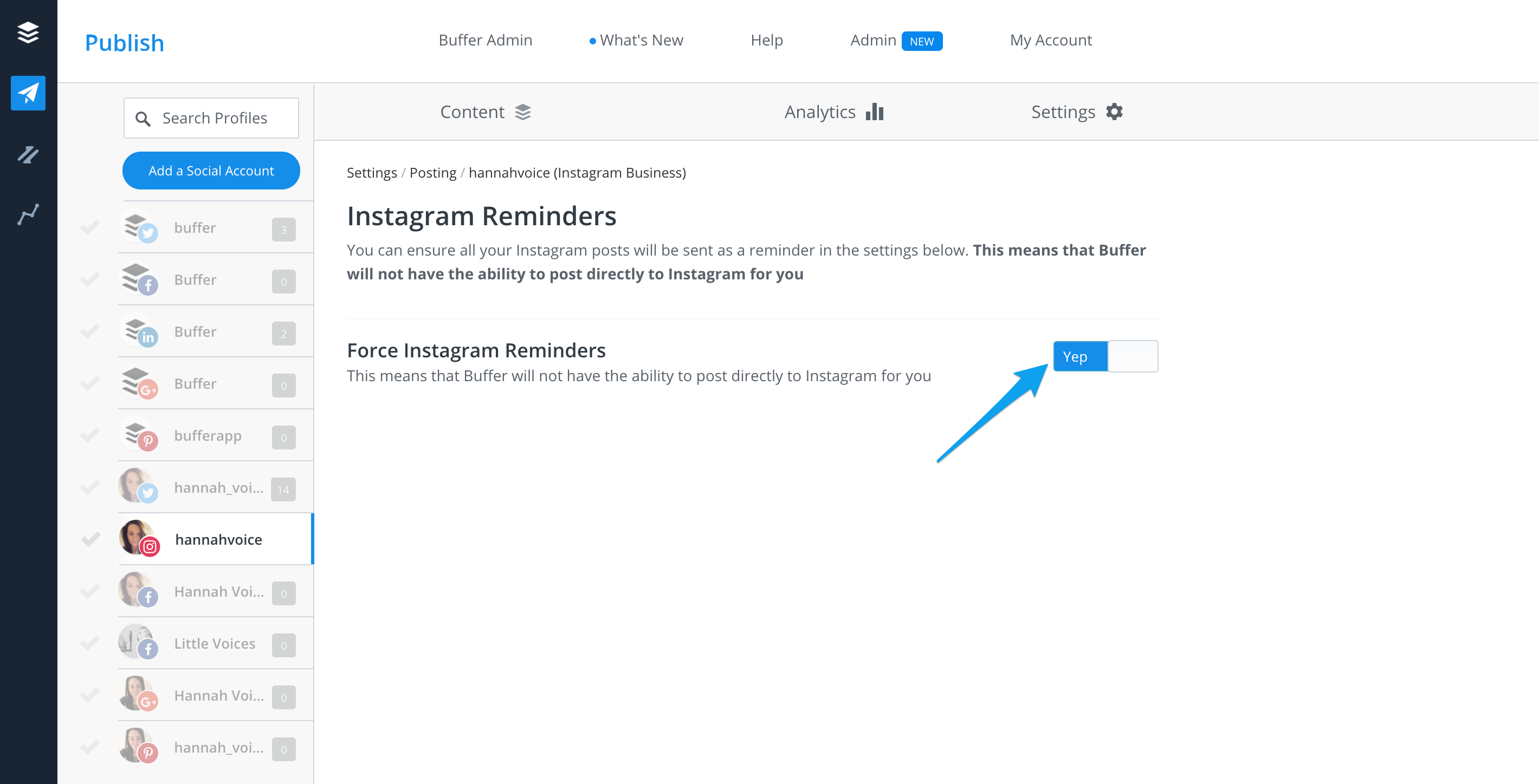 Publish how to disable instagram direct scheduling buffer faq from there toggle force instagram reminders to yep ccuart Images