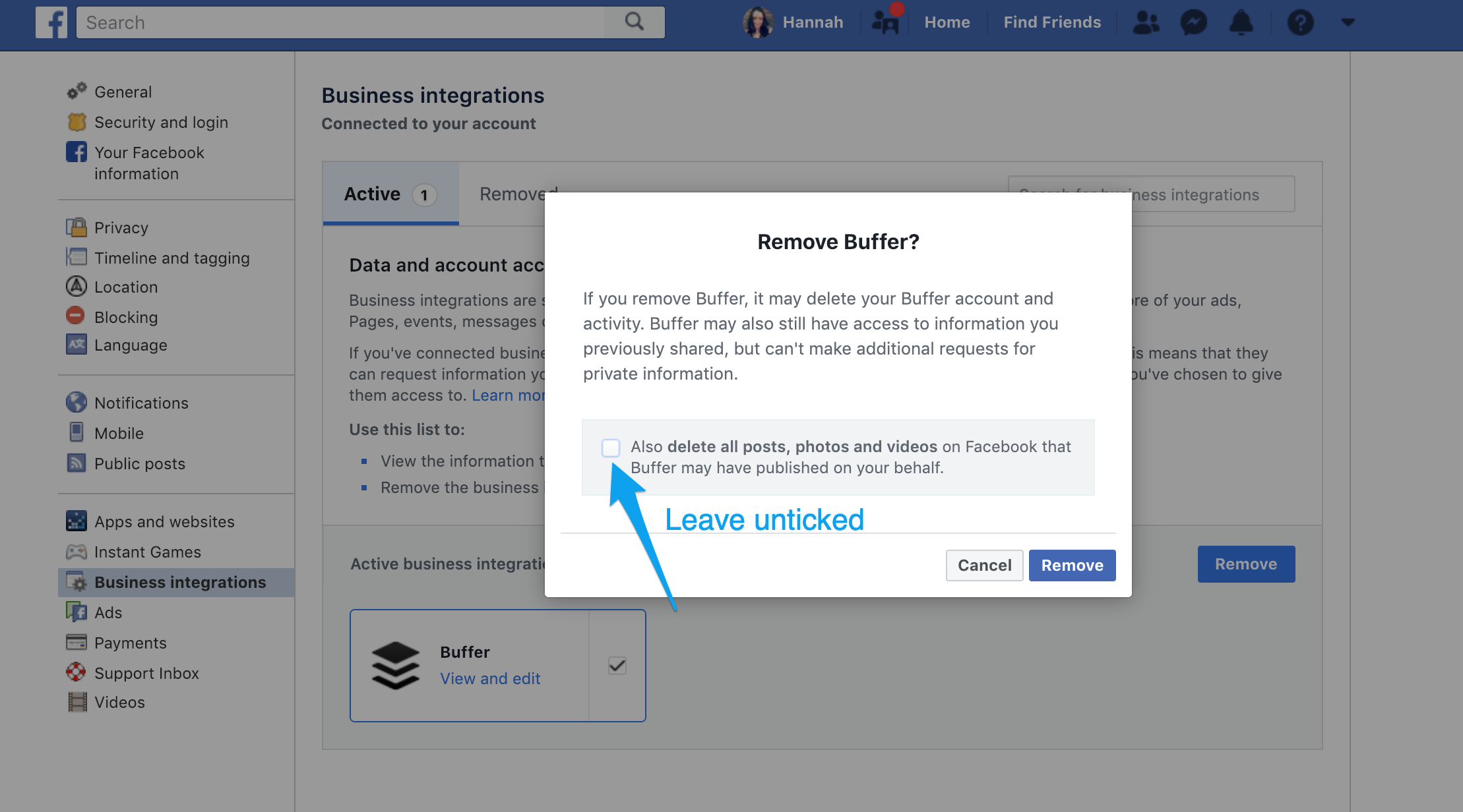 How to delete cover photo on facebook app
