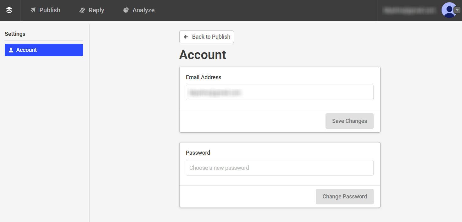 Publish] Changing your email address - Buffer FAQ