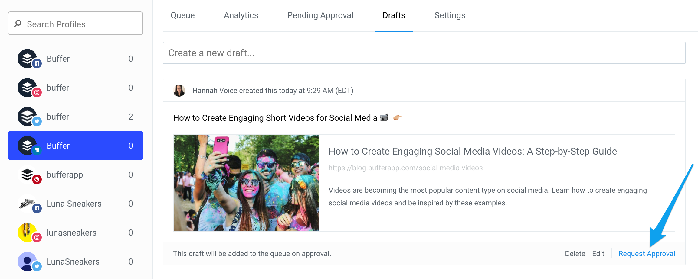 Publish] Creating and managing draft posts - Buffer FAQ