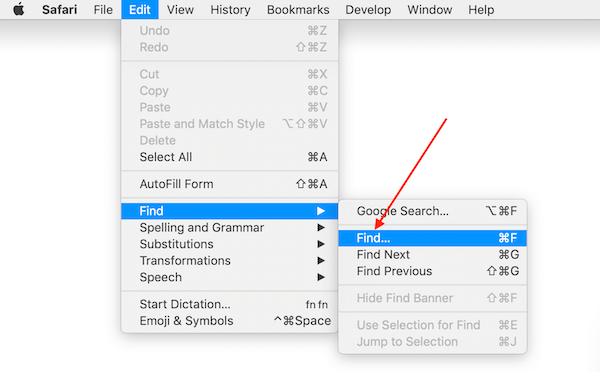 Find Function in Safari Browser