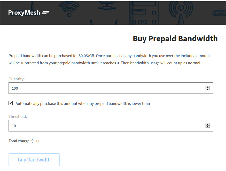 Buy Prepaid Bandwidth