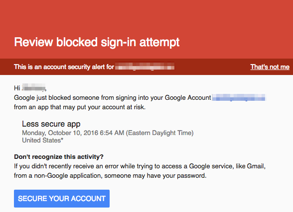 Blocked sign-in attempt