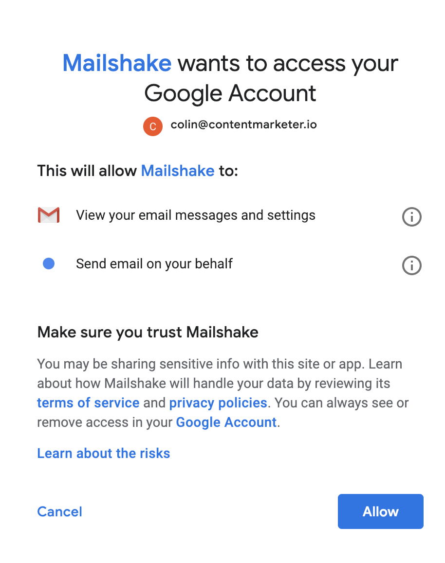 What kind of access does Mailshake have to my Google account