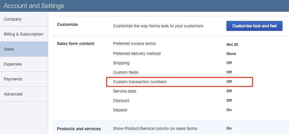 Using Custom Invoice Numbers FmQBO Documentation - Quickbooks online invoice number