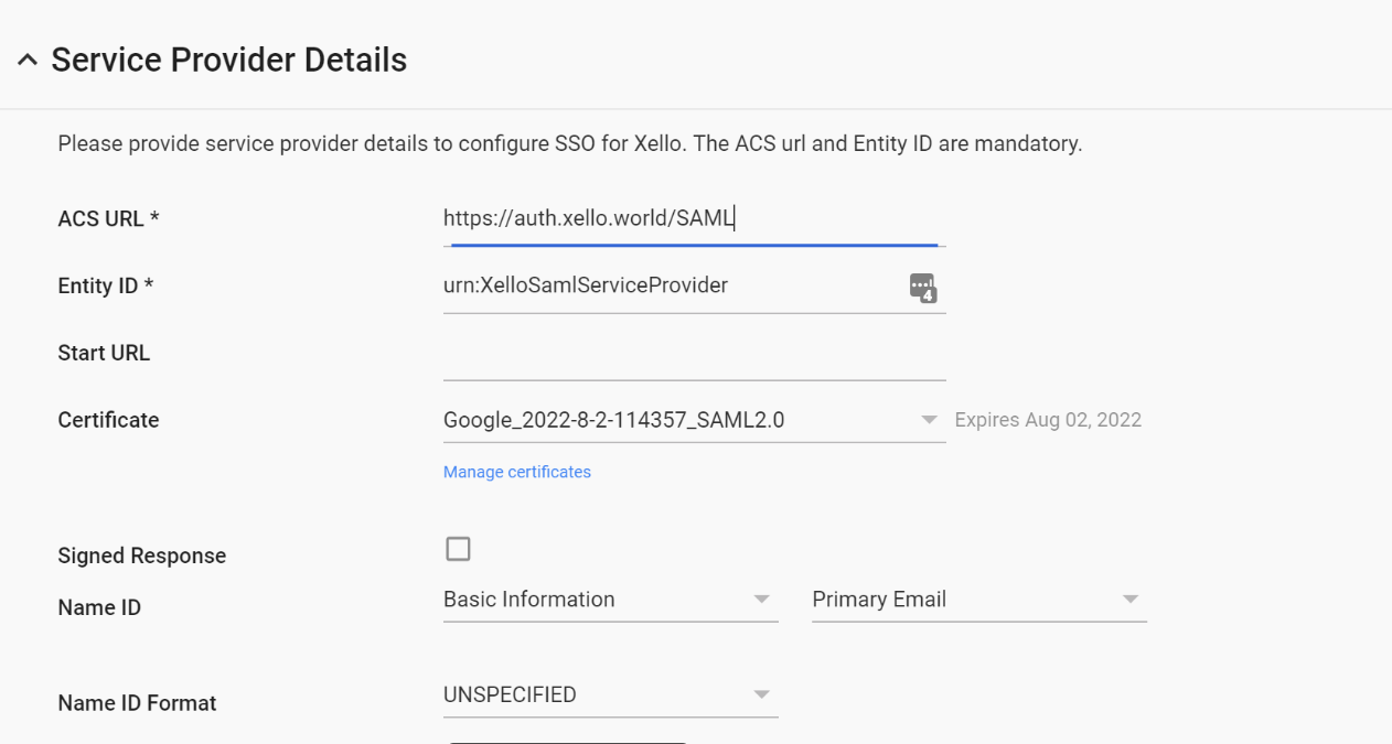service provider details page with acs url and entity id entered