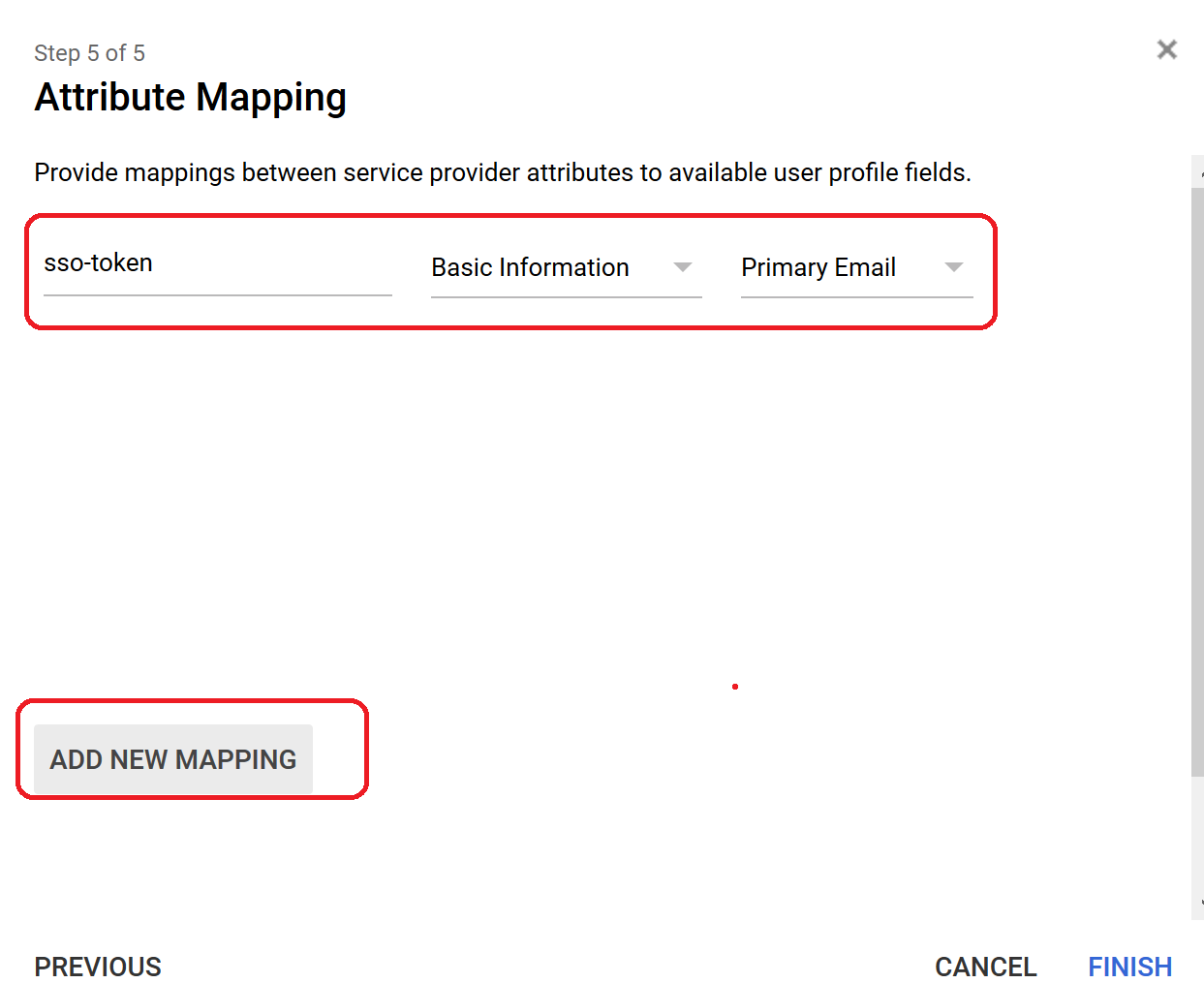Attribute mapping, Add new mapping highlighted