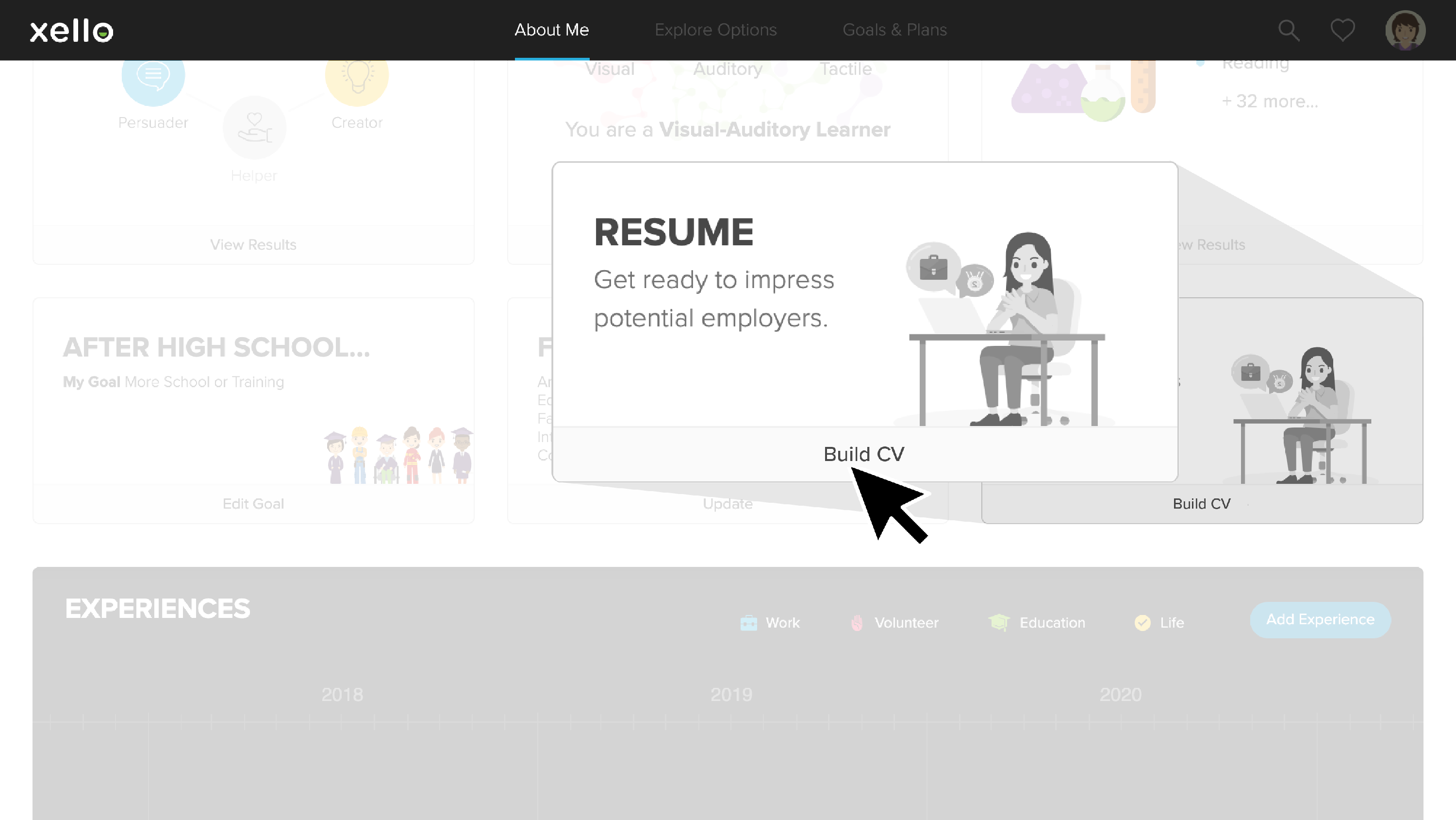 CV builder highlighted midway down the About Me page of the student experience in Xello