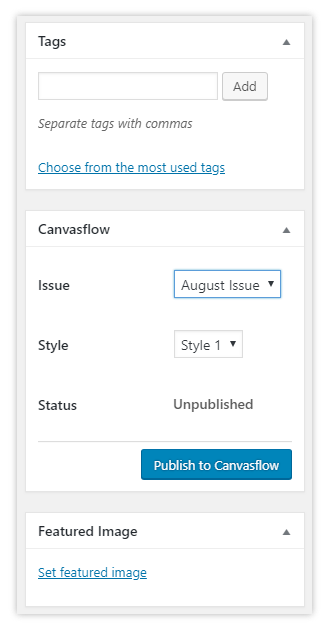WordPress to Canvasflow - Plugin - Support | Canvasflow