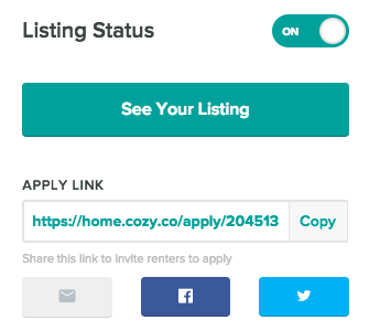 Activated listing, with See Your Listing button and Apply Link to copy