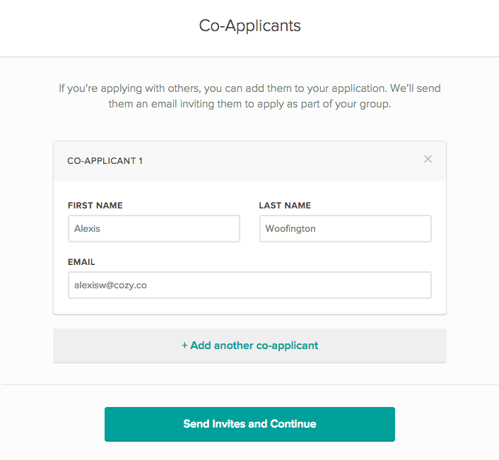 page to invite co-applicants with their name and email